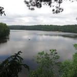 Троллей над озером 230 метров